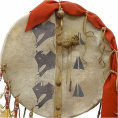 Native American Rawhide Shield: 3 Buffalo Emerging - Closeup