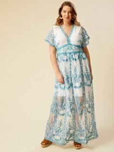 40e63272b1dfb Leewos 2018 New! Summer Plus Size Dresses,Women Casual Floral Pattern Off  Shoulder V Neck Bandage Irregular Slit Long Dress (Blue,…