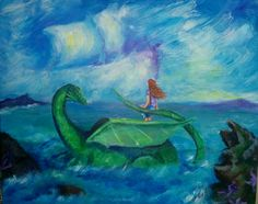 This is an original painting, inspired by Puff the Magic Dragon. It is painted with Acrylic on 16x20 traditional canvas.