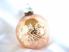 Vintage Shiny Brite Christmas Ornament, Small Peach and White Stenciled Village and Church Ornament
