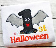 1st First Halloween Bat  Digital Machine Embroidery Applique Design 3 Sizes, first halloween applique, 1st halloween applique, bat applique