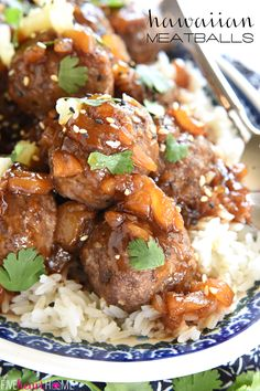 Hawaiian Meatballs ~ juicy homemade meatballs are smothered with a sweet and sticky, Polynesian pineapple sauce in this quick and easy dinner recipe | FiveHeartHome.com