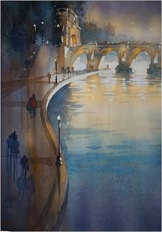 Down by the River. thomas w schaller watercolor 30x22 inches 09 nov. 2014