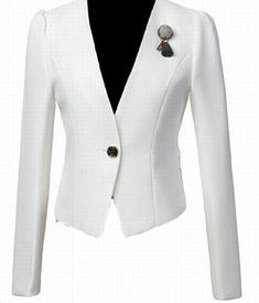 02b21714ba67 GAGA Womens Blazer Short Slim Long Sleeve One Button Casual Office Jacket  Suit Coats White M