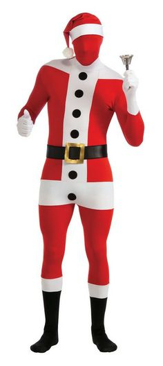 Second Skin Santa Claus Costume Jumpsuit $40.57 Easy to breathe and drink through the head cover.  Santa Costumes. Christmas Costumes. http://www.halloweencostumes4u.com/prods/rub880543-santa.html