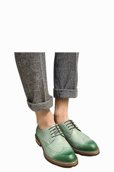 Brogue Vintage Oxford Shoes In Green