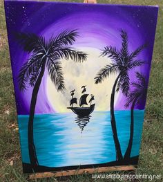"""How To Paint Tropical Moon Rise With Ship This is the last in my series of """"July Summer Nights""""! And it's an easy one with a limited color palette! You will learn how to paint a full moon, radiating purple night sky, turquoise ocean and silhouette palm trees. There is a silhouette of a Pirate Ship … Continue reading """"How To Paint Tropical Moon Rise With Ship"""""""