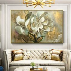 Gold art 2 pieces wall art set of 2 wall art framed painting Abstract paintings On Canvas original ready to hang large wall art home Decor : Gold leaf Flower Acrylic Painting On Canvas Original Extra Flower Painting Canvas, Oil Painting Flowers, Abstract Flowers, Painting Frames, Painting Prints, Canvas Art, Abstract Paintings, Wall Art Sets, Large Wall Art