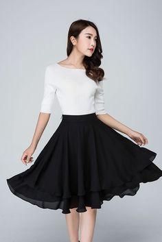 high waist Skirtmidi skirt over knee length skirt by xiaolizi