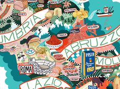"""Prodotti Tradizionali Italiani   I wouldn't go with this """"custie"""" illustration style but I like that way that the landmarks or locational symbols are situated in roughly the """"right"""" geographic area on an actual map of Italy. I could see our map working like this."""