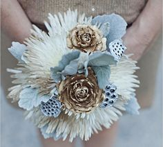 Unconventional metallic pod & pinecone Bouquet for a Non-Traditional Bride