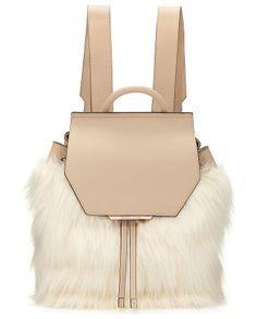 Nancy Leather Faux-Fur Backpack by KENDALL + KYLIE. Kendall + Kylie leather backpack with faux-fur (polyacrylic) detail at front. Rose golden hardware; adjustable should...