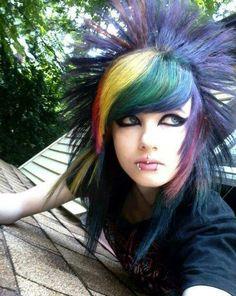 Scene Makeup, Emo Makeup, Hair Makeup, Emo Scene Hair, Emo Hair, Punk Girls, Hair With Flair, Peacock Hair, Playing With Hair