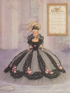 Barbie Miss September 1997 Beautiful Black and White Royal Dress Crochet Pattern Tiara Pattern Included. $9.50, via Etsy.
