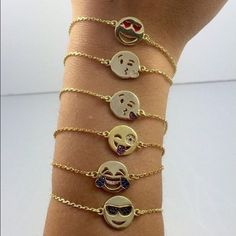 Emoji adjustable bracelets. Black expandable string in the back. Can be tightened or loosened to big or small sizes. Sterling silver (925), dipped in 14k gold. Specify in order which emoji face you want. Adina's Jewels Jewelry Bracelets