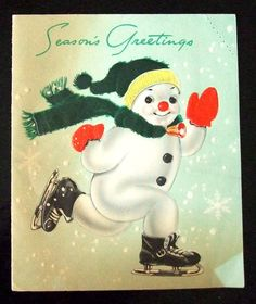 Really Cute Vintage Christmas Card Skating