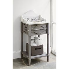 MINI SPINDLE SINK CHEST - WEATHERED GREY - Ambella Home  #Furniture #Bathroom #Vanity #Storage