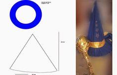 : Fabriquer un chapeau de magicien, sorcier, de sorcière pour Halloween - Un accessoire de déguisement simple à réaliser à partir d'un carton souple ou de feutrine, ou encore d'un tissu de type sièges auto (recyclage). Il peut être utilisé comme dans l'exemple pour un chapeau de magicien Merlin l'Enchanteur ou de sorcier, sorcière.