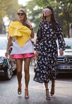 Street style friends AdR & Gio at Paris Fashion Week Spring 2015.  #AnnaDelloRusso #GiovannaBattaglia