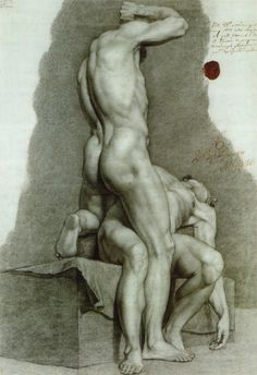 Fedor (Fyodor) Bruni (1799-1875), Two Male Models, 1813, Pencil on Paper, (The Russian) Academy of Arts, Saint Petersburg, Russia