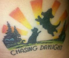 """We worked 10 years to raise enough money to build Chasing Daylight Animal Shelter in Tomah, WI. June 20th we celebrate our 1st birthday!!! I am proud of this tattoo!"" Photo Credit: Gina M. #tattoo #dog #cat"