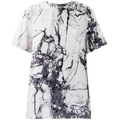 BALENCIAGA Marble-print silk top (2 265 PLN) ❤ liked on Polyvore featuring tops, t-shirts, tees, balenciaga, shirts, white, short sleeve tee, short sleeve shirts, white top and short sleeve t shirts