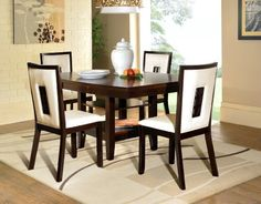 5-Piece Bradley Espresso Dining Set by Powell Furniture. $892.99. White PU Upholstery. The perfect addiition to any modern or contemporary home. Some Assembly Required. Rich Espresso Finish. Five piece set includes one table and four side chairs. The Bradley Dining Collection is the perfect addition to any modern or contemporary styled home. Featuring clean, straight lines and a rich Espresso finish, this collection is sure to add drama to any space. The Bradley T...