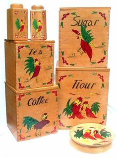 Vintage Wood Wooden Rooster Kitchen Canister Set Salt PAPPER Hamburger  Press   EBay
