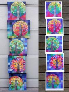 Little Trees Growing – a set of five digital prints, colourful rainbow spectrum trees with handpainted gold lights - Kunstunterricht Classe D'art, 6th Grade Art, Tree Artwork, Ecole Art, Middle School Art, Autumn Art, Art Classroom, Art Club, Teaching Art