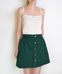 90's buttoned up dark green skirt british mini by WoodhouseStudios
