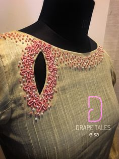 Whatsapp on 9496803123 customise. Kurta Neck Design, Saree Blouse Neck Designs, Fancy Blouse Designs, Dress Neck Designs, Hand Embroidery Dress, Embroidery Neck Designs, Embroidery Works, Designer Blouse Patterns, Dress Patterns