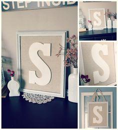 DIY Monogram Frame Tutorial Monogram Wall Art, Diy Monogram, Monogram Wedding, Monogram Letters, Diy Wedding, Dyi Crafts, Frame Crafts, Diy Frame, Diy Projects To Try