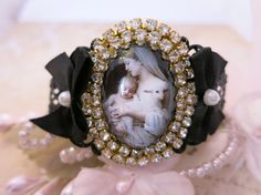 Virgin Mary filigree black bracelet by lorenza33 on Etsy, $49.00