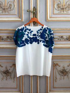 hand painted silk: Silk Tee Inkblot Bluegreen by Rachel Rose (via seesaw)
