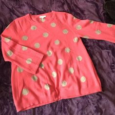 Cashmere sweater Pretty pink and taupe polka dot soft cashmere sweater. Perfect for a cool Summer night with white jeans. Garnet Hill Sweaters Crew & Scoop Necks