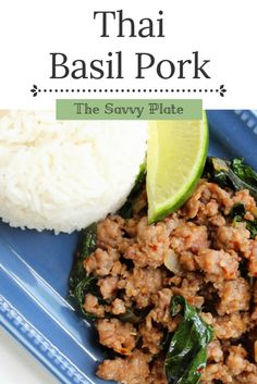 Call it pad kra pao or pad kaprow or pad gra pao. It's a Thai stir fry of ground pork and basil, with as much or as little spice as you'd like!-sub out sugar for THM Healthy Recipes, Baby Food Recipes, Beef Recipes, Vegetarian Recipes, Cooking Recipes, Thai Recipes, Healthy Breakfasts, Cooking Videos, Healthy Dinners