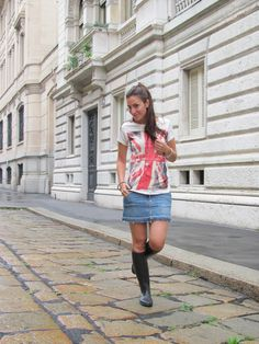 T-shirt, jeans skirt and horse riding boots for aa rainy Sunday. Simply…