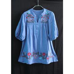 Blue Shirt Women Blouse Top T-shirt Tunic Dress Caftan Kaftan... ❤ liked on Polyvore featuring tops, tunics, caftan tunic, embroidered kaftan, caftan tops, shirt top and kaftan shirt