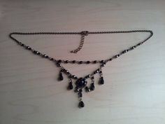 My dear friend in Japan has opened an etsy shop! Please take a look! Her work is lovely!!  Black Czech beads gorgeous necklace with pin by NeoUniverseTaro, ¥5000