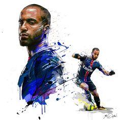 My painting of Lucas Moura, player of the Paris Saint Germain.