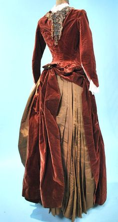 1880's velvet and satin with embroidery detail. back.