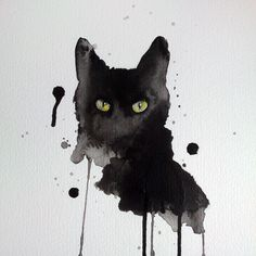 Black cat watercolor 8x10 art print signed by artist