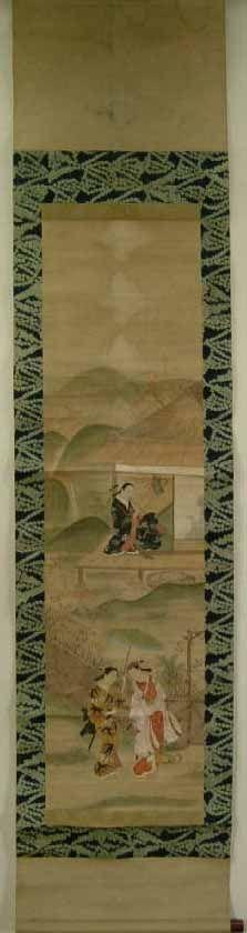Dos mujeres portando espadas y otra tocando una flauta en un paisaje de primavera. Pintura sobre papel montada sobre soporte de papel con capas de seda, datada sobre el año 1.850, periodo Edo, de artista desconocido sin firma ni sello. Los extremos de la barra de enrollar son de madera lacada Urushi, aunque le falta uno. Kakemono: 181x41,2 cm. Pintura: 113,4x30,5cm. Colección propia.