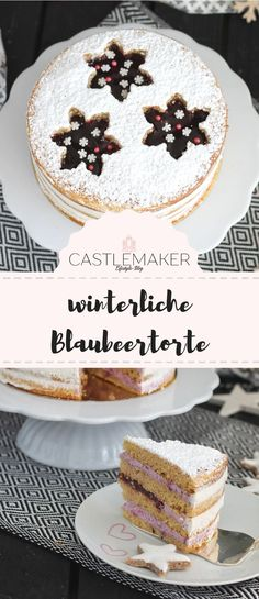 Leckere Blaubeertorte mit winterlichem Touch – semi naked cake Sweet winter cake with a filling of blueberry cream and marzipan cream and a bottom with [. Delicious Cake Recipes, Easy Cake Recipes, Yummy Cakes, Dessert Recipes, Desserts, Baking Recipes, German Torte Recipe, Marzipan Creme, Winter Torte