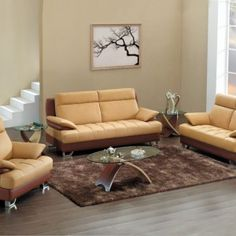Luxury Chairs For Living Room- Beige Leather Comfy Sofa