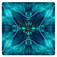 Blue Flower Fractal Design Wallclocks #Blue #Flowers #Fractal #Design #Clocks #FlowstoneGrahics