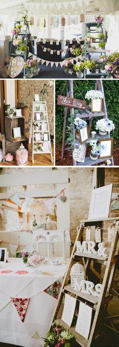 Decoración de boda con escaleras 2 jaula mr & mrs seating plan protocolo mesas