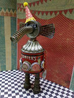 Mister PNut...Circus Elephant Assemblage. Zetta's Aprons