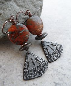 Great Pyramids ... Pewter, Jasper, Ceramic and Copper Wire-Wrapped Earrings Juliehelen