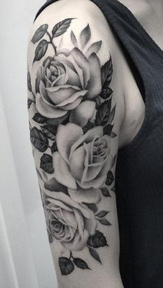 I want this in color Black and White Rose Tattoo Ideas for Women - Flower Arm Sleeve - MyBodiArt.com #tattoosforwomenhalfsleeve #tattooideas